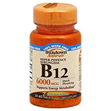 Sundown Naturals B12, Super Potency, 6000 mcg, Sublingual, Tablets, 60 tablets