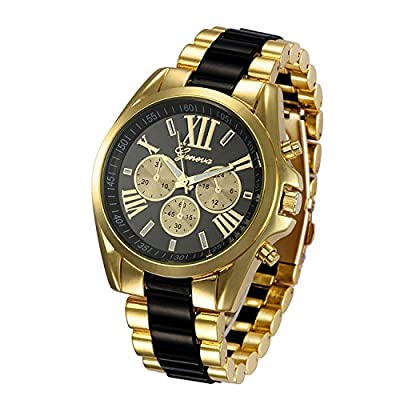 Fanmis Roman Numeral Gold Plated Metal Nylon Link Analog Disply Watch - Black