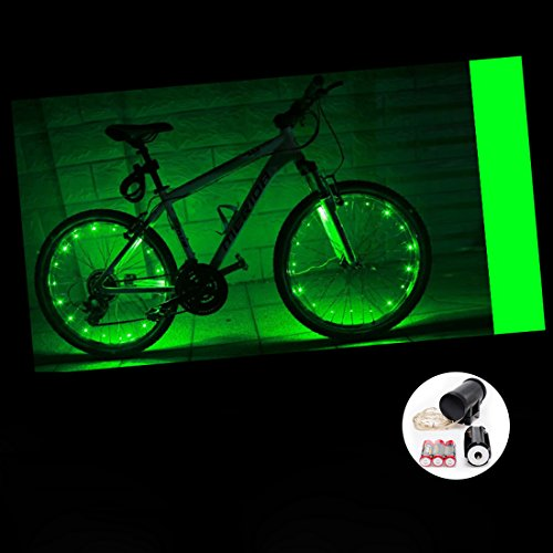 LEDMO (2 pack)Bicycle Bike Rim Lights, 20 LEDs Green Wheel Lights, LED String Light Green Bicycle Bike Wheel Rim Copper Wire Starry Light , Perfect for Safety and Fun color - Battery (Rim Bike compare prices)