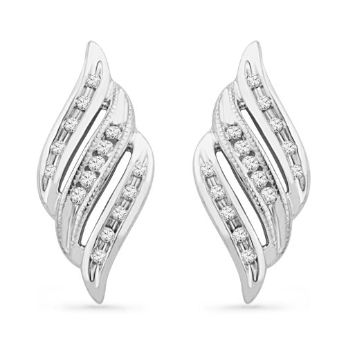 Platinum Plated Sterling Silver Round Diamond Twisted Fashion Earring (0.12 CTTW)