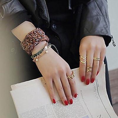 DDU(TM) 1 Set/ 3Pcs Gold- Retro Alloy Suit Knuckle Rings Ring Accessories Gift