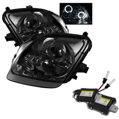 Honda Prelude Projector Headlights LED Halo Light Smoke Lens With Chrome Housing (Halo Lights For Honda Prelude compare prices)