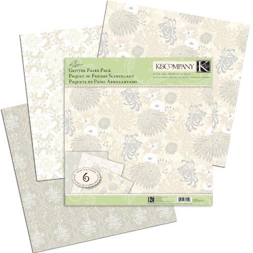 K&Company Elegance Glitter Paper Pack, 6 Sheets
