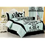 Chezmoi Collection 7-Piece Aqua with Blue and Black Floral Flocking Bed-in-a-Bag Comforter Set, Full/Double ~ Chezmoi Collection