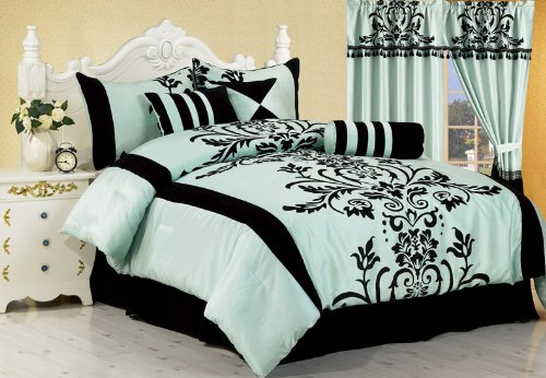 7 Pieces Aqua with Blue and Black Floral Flocking Comforter 106