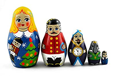 Matryoshka Matrioska Babuska Russian Nesting Wooden Doll Nutcracker Babouska Babushka 5 Pcs Stacking Hand Painting Beautiful Nested Craft Matriosjka Matreoska Matreshka Matrjoska Matroeska