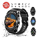 MyTECH V8 Smart Watch, Bluetooth Smartwatch Touch Screen Wrist Watch with Camera SIM Card Slot,Waterproof Sports Fitness Tracker Android Phone Watch Compatible with Android iOS Phones Men Women Kids
