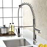 Refin Chrome Single Handle Soft Pull Down Commercial Style, Sturdy and Durable Kitchen Sink Faucet