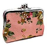 iSuperb 小銭入れ がま口 2層がま口 ポーチ 帆布がま口 財布 レディース キャンバス 角形 かわいい ミニ 花柄 12x9cm 5色選択可 (ピンク)
