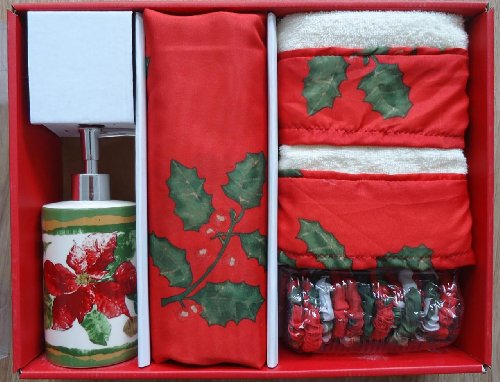 Christmas Floral 16 Piece Shower Curtain And Accessory Set By Carnation