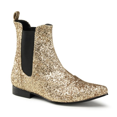 1 Inch Heel MENS BOOTS Pimp Shoe Boots Gold or Silver Halloween Costume Accessor
