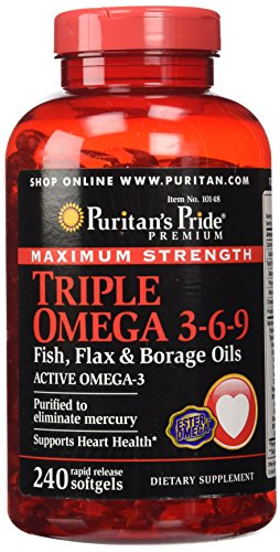 Puritan's Pride Maximum Strength Triple Omega 3-6-9 Fish, Flax & Borage Oils-240 Softgels (Flax Omega 3 Supplements compare prices)