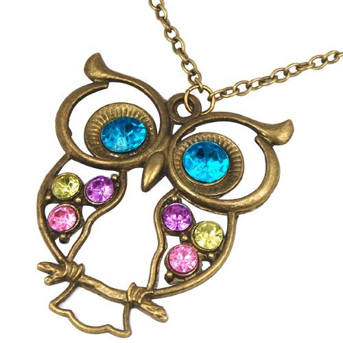 Vintage, Retro Colorful Crystal Owl Pendant and