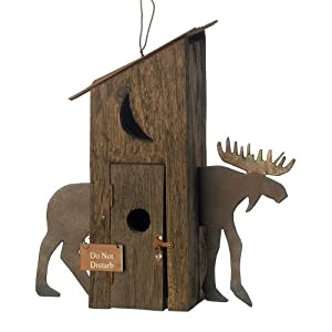 Gifts & Decor Wooden Rustic Country Outhouse Moose Hut Bird House
