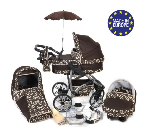 3-in-1 Travel System with Baby Pram, Car Seat, Pushchair & Accessories, Brown & Wawy Lines, Twing