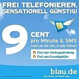SIM-Karte Blau.de Prepaid 5+5=10 Euro Guthaben