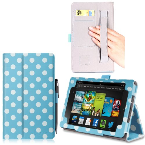 i-BLASON All New Kindle Fire HD (2013 Release) 7 inch Tablet Leather Case Cover with Elastic Hand Strap / ID Card Holder  / Stylus (Not Compatible with Kindle Fire HD 7 2012 Release) 3 Year Warranty (Dalmatian/Blue)