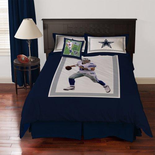 Nfl Biggshots Bedding - Dallas Cowboys Tony Romo Comforter Set And Toss Pillow, Queen front-929050