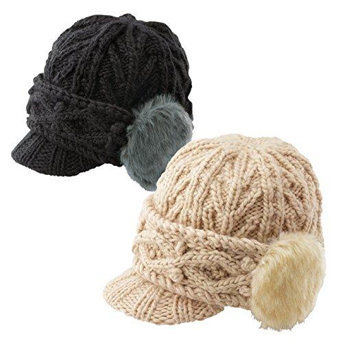 NHKおはよう日本「まちかど情報室」で紹介!耳まで暖かい手編み帽子(ベージュ)