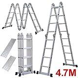 Yahee Mehrzweckleiter Anlegeleiter Klappleiter Gelenkleiter Leiter mit zwei Gerüstplattenset 6 in 1 Funktion 4,7m