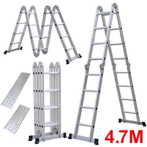 Yahee-Mehrzweckleiter-Anlegeleiter-Klappleiter-Gelenkleiter-Leiter-mit-zwei-Gerstplattenset-6-in-1-Funktion-47m