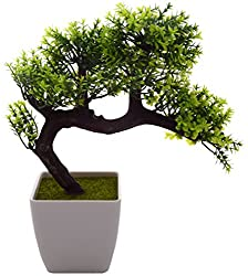 Fourwalls Miniature Artificial Drooping Tree in a Melamine Vase (Green)