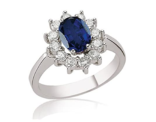 2.48 Carats 18k Solid White Gold Blue Sapphire and Diamond Engagement Wedding Bridal Promise Ring Band