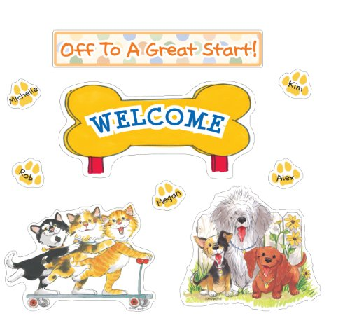 """Eureka Wags And Whiskers Pawprint Welcome Bulletin Board Set, 4 Panels 17 X 24"""" Each front-821110"""