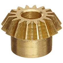 "Boston Gear G481Y-P Bevel Pinion Gear, 2:1 Ratio, 0.188"" Bore, 32 Pitch, 16 Teeth, 20 Degree Pressure Angle, Straight Bevel, Keyway, Brass"