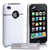 White And Chrome Hard Hybrid Case For The Apple iPhone 3 / 3G / 3GS With Screen Protector Film And Grey Micro-Fibre Polishing Clothby Yousave Accessories TM