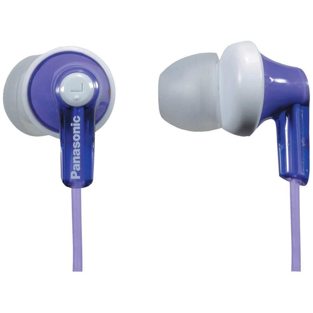 Panasonic ErgoFit In-Ear Earbud Headphones RP-HJE120-V (Purple) Dynamic Crystal Clear Sound, Ergonomic Comfort-Fit