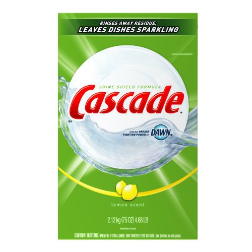 Cascade Powder Dishwasher Detergent, Lemon Scent, Case Pack,