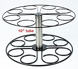 Stainless steel plant stand 8 pot capacity with 10 tube no drip pan patio - Steel pot plant stands ...