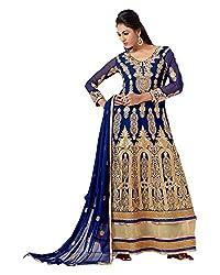 Maruti Suit Women's Faux Georgette Suit Material (16002, Blue, Free Size)