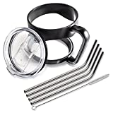 All-Inclusive Drinking Tumbler Accessory Kit - Silicone Handle, 4 stainless steel straws, Spill Proof Sliding Lid - compatible with YETI Tumbler, RTIC, SIC
