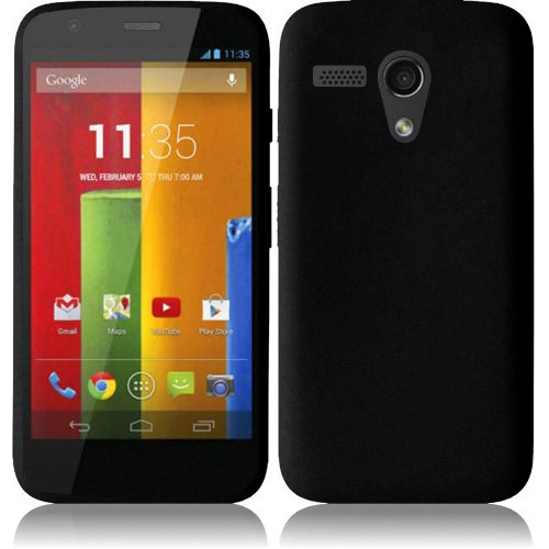 Pleasing Black Soft Premium Silicone Case Cover Skin Protector for Motorola Moto G (by AT&T / Boost Mobile / T-Mobile / Verizon / US Cellular / AIO Wireless) with Free Gift Reliable Accessory Pen (Phone Cases Moto G Boost Mobile compare prices)