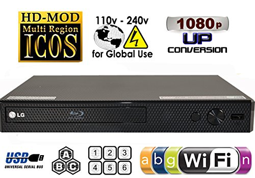2015 LG Lecteur BP350 Wi-Fi libero DVD Region Code multizona 012345678 PAL/NTSC blu ray zona A/B/c, MP4 AVI XVID e MKV. 100~240V 50/60 minerali Z MONDO-Larghezza uso (gratuito 2 m cavo HDMI)