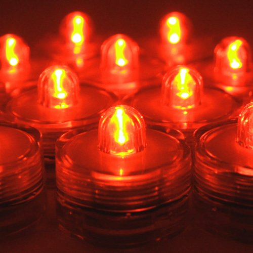 BlueDot Trading Submersible Tea Lights, Orange, 24-Pack