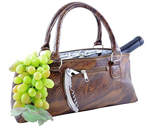 Primeware Clutch Insulated Single Bottle Wine Tote, Brown Serpentes