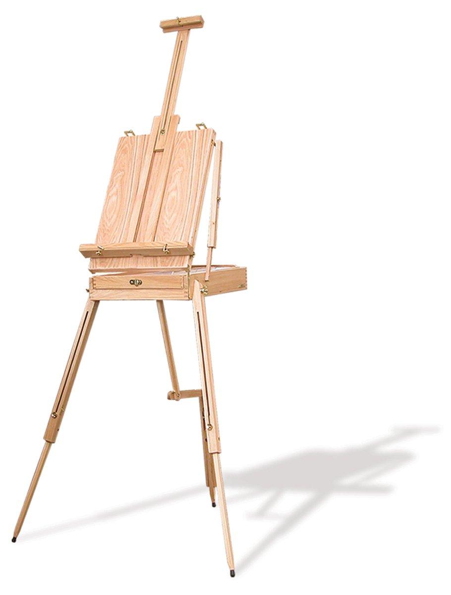 Caballete de madera con maletín de pinturas