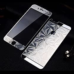 Exoic81 3D Diamond Pattern Mirror Front + Back Tempered Glass Screen Protector For Apple iPhone 6 / 6S / 6G - SILVER