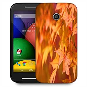 Snoogg Orange Leaves Designer Protective Phone Back Case Cover For Motorola E2 / MOTO E22