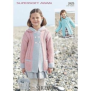 Aran Afghan Knitting Patterns Free : Sirdar Supersoft Aran Girls Hooded Cabled Coat Knitting Pattern 2425: Amazon....