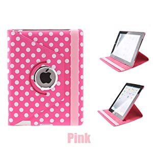Euroge Tech Polka Dot Pattern PU Leather Case With 360 Degrees Rotating Stand for iPad 2 and the New iPad Pink