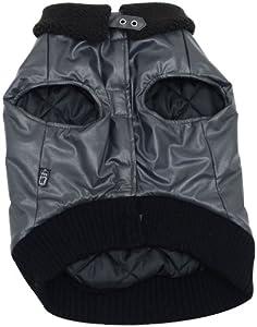 Dogit Faux Leather Bomber Dog Jacket, Large, Charcoal