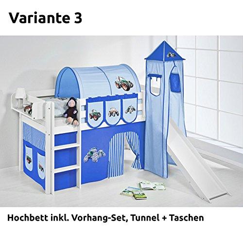 Hochbett Spielbett JELLE Trecker Blau mit Turm, Rutsche und Vorhang, weiß, Variante 3