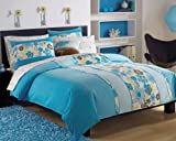 Roxy Beach Blue Floral Teen Girls Comforter Set 200tc Sheet Set Dec Pillow