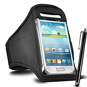 GBOS Adjustable Armband Gym Running Jogging Sports Case Cover Holder for LENOVO A6000 PLUS With Touch Stylus pen Black