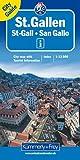 K+F St. Gallen 1 : 12 000. Stadtplan: mit Hauptplan, Detailplan Zentrum, öffentlichem Verkehrsnetz, Übersichtskarte, Strassenverzeichnis+
