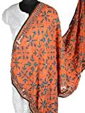 Shopatplaces Phulkari Dupatta In Coral Orange - CPPD1AP95